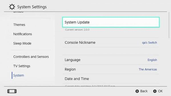 Nintendo Switch Settings