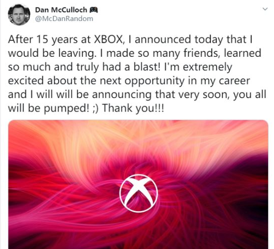 What do you think of Xbox Live manager Dan McCulloch leaving Microsoft?