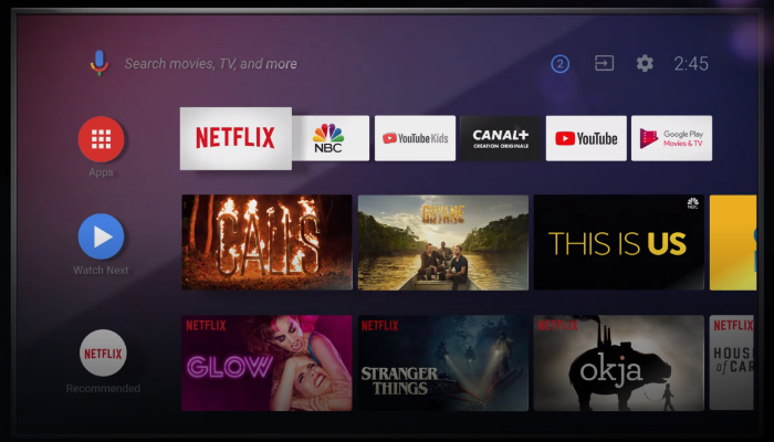 Android TV new main interface will display recommended content of movie, TV shows and apps