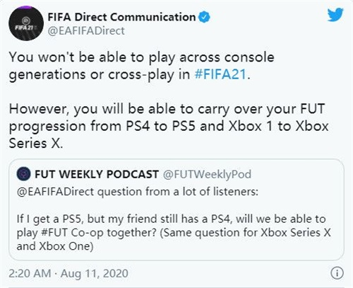 FIFA 21 does not support cross-platform and cross-gen console play